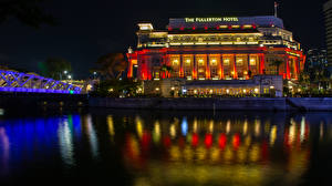 Pictures Singapore Houses Rivers Bridge Night time Hotel Raffles Place Cities