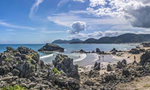 Bilder Spanien Küste Wasserwelle Bucht Felsen Cantabria