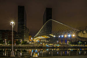 Photo Spain Building River Bridge Night Street lights Bilbao Cities