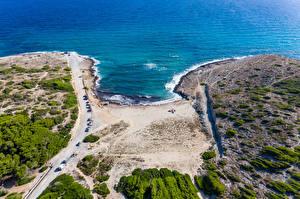 Desktop hintergrundbilder Spanien Mallorca Küste Wasserwelle Wege Von oben Arta Natur