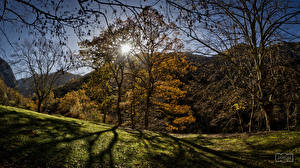 Pictures Spain Mountains Autumn Trees Sun Asturias