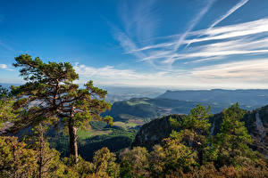 Image Spain Mountains Sky Trees Clouds Berga, Catalonia Nature