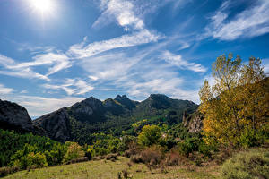 Wallpapers Spain Mountains Sky Trees Clouds Berga, Catalonia Nature