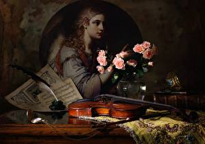 Pictures Still-life Roses Feathers Violin