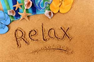 Images Summer Resting Sand Flip-flops Lettering English