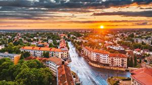 Pictures Sunrises and sunsets Houses Lithuania Kaunas From above Sun  Cities