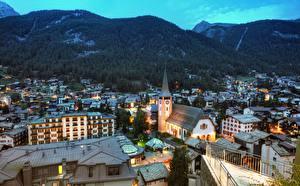Pictures Switzerland Mountain Building Evening Zermatt, Canton Valais Cities
