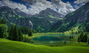 Photo Switzerland Mountains Lake Landscape photography Alps Spruce Lauenen, Bern
