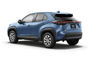 Images Toyota CUV Blue Metallic White background Yaris Cross Hybrid X, JP-spec, 2020 Cars