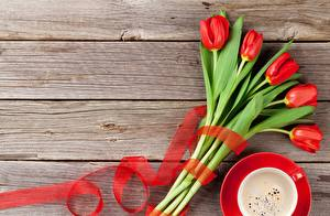 Wallpaper Tulips Red Wood planks Template greeting card flower