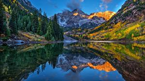 Images USA Mountains Lake Landscape photography Reflected Maroon Bells, Aspen, Colorado