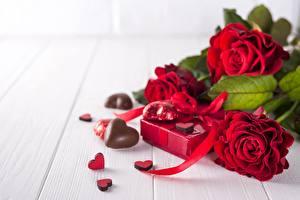 Hintergrundbilder Valentinstag Bonbon Rose Herz Blüte