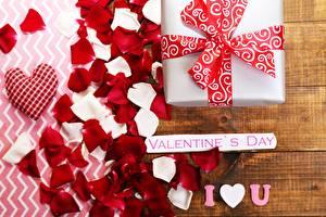 Fondos de escritorio Día de San Valentín Presente Pétalo Palabra Inglés