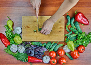 Images Vegetables Bell pepper Allium sativum Dill Tomatoes Cucumbers Knife Cutting board Hands