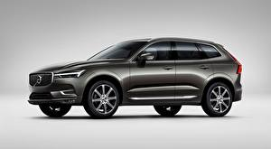 Picture Volvo Gray background Grey CUV Side XC60, T6, Inscription, 2017 Cars