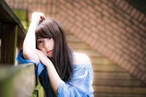 Bakgrunnsbilder Asiatisk Bokeh Brunt hår kvinne Blikk Hender ung kvinne