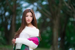 Papel de Parede Desktop Asiático Bokeh Castanhos Ver Mão Suéter jovem mulher