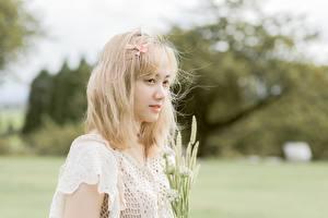Bilder Asiatisches Unscharfer Hintergrund Starren Blond Mädchen junge frau