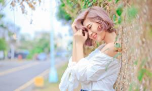 Desktop wallpapers Asian Blurred background Smile Hands Girls