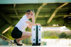 Wallpaper Asiatic Bokeh Stewardesses Suitcase Sit Brown haired young woman