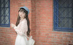 Wallpapers Asian Brown haired Baseball cap Staring Glasses Hands Cute female