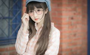 Image Asiatic Brown haired Blurred background Glasses Glance Hands Girls