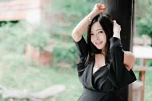 Fotos Asiaten Brünette Bokeh Blick Lächeln Hand junge Frauen