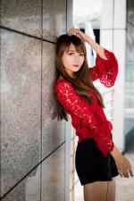 Fotos Asiaten Hand Bluse Blick junge Frauen