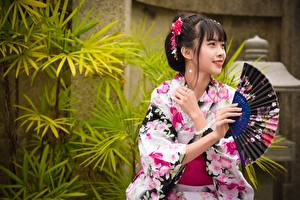 Wallpaper Asian Brunette girl Smile Hands Hand fan Kimono Japanese Girls