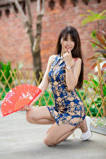 Picture Asiatic Posing Legs Gown Hand fan Blurred background young woman