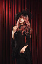 Wallpaper Asian Redhead girl Gown Hat Posing Staring