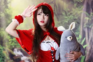 Pictures Asiatic Toys Bokeh Red Riding Hood Brunette girl Hands Glance Girls