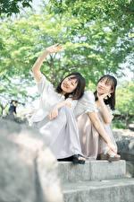 Hintergrundbilder Asiatisches Zwei Sitzend Lächeln Hand Brünette Vietnamese junge Frauen