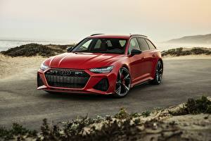 Desktop wallpapers Audi Red Estate car 2020 2019 V8 Twin-Turbo RS6 Avant Cars