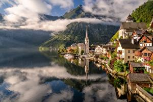 Images Austria Hallstatt Mountain Lake Houses Clouds Cities
