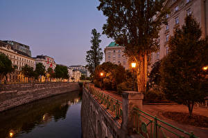 Wallpaper Austria Vienna Building Evening Street Canal Street lights Trees Cities