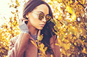 Fotos & Bilder Herbst Bokeh Braunhaarige Brille Hand Mädchens