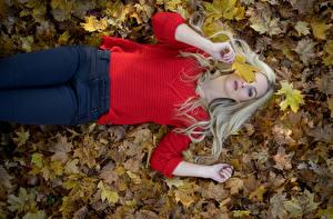 Hintergrundbilder Herbst Blattwerk Blondine Sweatshirt Jeans Liegen Blick Julia Mädchens Natur
