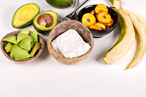 Pictures Avocado Bananas Quark curd cottage farmer cheese Gray background Food