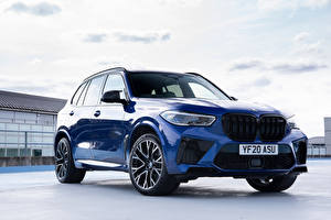 Wallpaper BMW Crossover Blue Metallic X5 M Competition UK-spec (F95), 2020 Cars