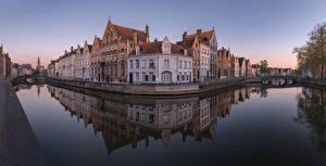 Papel de Parede Desktop Bélgica Bruges Casa Pontes Canal Spiegelrei canal