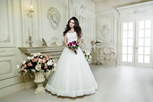 Images Bouquet Brunette girl Brides Frock White young woman