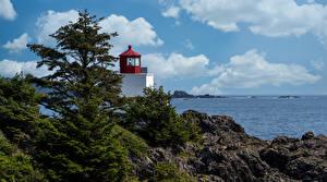 Tapety na pulpit Kanada Latarnie morskie Turnia Drzewa Chmury Ucluelet