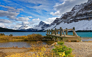 Picture Canada Park Mountain Lake Bridges Banff Snow Nature