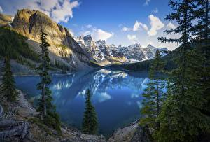 Wallpapers Canada Park Mountain Lake Landscape photography Trees Cliff Clouds Banff Alberta