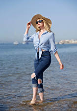 Picture Carla Monaco Blonde girl Jeans Formal shirt Hat Eyeglasses young woman