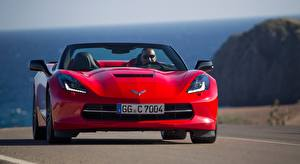 Fotos Chevrolet Vorne Rot Cabriolet Corvette, Stingray Convertible, EU-spec, 2013