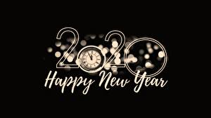 Desktop wallpapers New year 2020 Black background English Word - Lettering