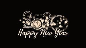 Hintergrundbilder Neujahr 2020 Schwarzer Hintergrund Englisch Wort