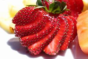 桌面壁纸,,特寫,浆果,草莓,切的食物,